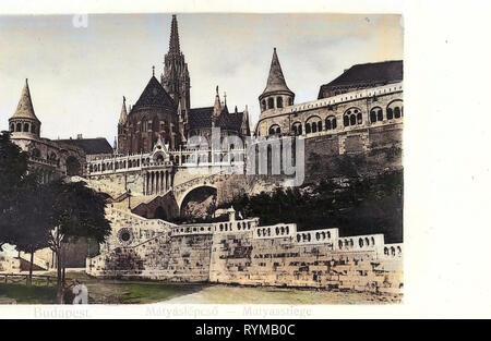 Bastione del Pescatore (immagini storiche), immagini storiche della Chiesa di Mattia (Budapest), 1905, Budapest, Matyasstiege, Ungheria Immagini Stock