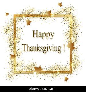 Vector biglietto di auguri per il giorno del Ringraziamento. Cornice dorata con la caduta di foglie di acero. Immagini Stock