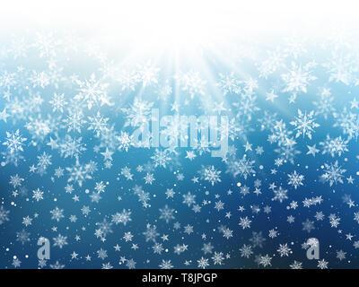 Sfondo di natale di caduta di fiocchi di neve e stelle Immagini Stock