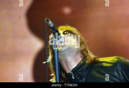 OASIS UK del gruppo rock con Liam Gallagher in agosto 2000. Immagini Stock