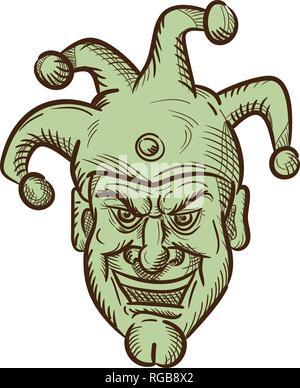 Disegno stile sketch illustrazione della testa di un medievale demented buffone di corte, arlecchino o ingannare con un ghigno silly grin o sorriso sul whit isolato Immagini Stock