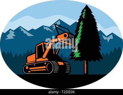 In stile retrò illustrazione di un cingolato trattore pacciamatura o Trincia forestale abbattere un albero di pino con la foresta e la montagna insieme all'interno ovale sul isola Immagini Stock