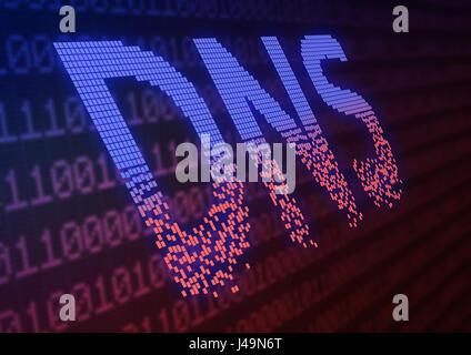 DNS attacchi DDOS - cyber warfare concetto 3d illustrazione Immagini Stock