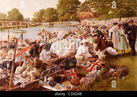 Tea Time al Cambridge Mays, da Percy Robert Craft. Cheltenham, Inghilterra, nei primi anni del XX secolo Immagini Stock