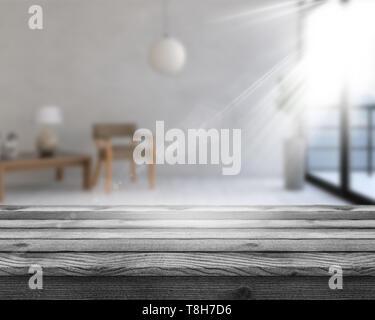 3D render di un tavolo di legno che guarda a un defocussed sala interna con il sole che splende attraverso la finestra Immagini Stock