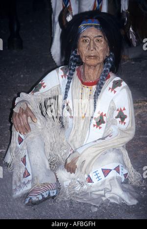 Waxwork realistiche di un American donna indiana in Banff prima nazione il Museo Indiano in Alberta, Canada Immagini Stock