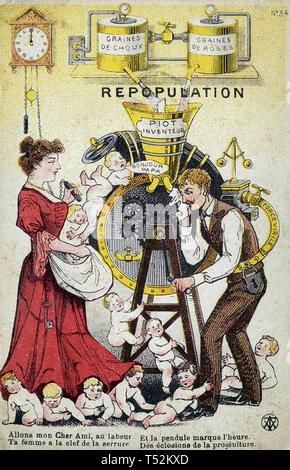 BABY MACCHINA cartoon francese 1905 che mostra il marito su un bambino la produzione di tapis roulant Immagini Stock