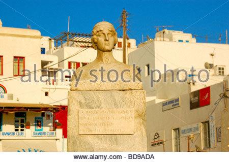 Un monumento a Mykonos in Grecia Immagini Stock