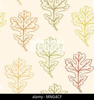Vector autunno seamless pattern con foglie di quercia Immagini Stock