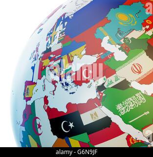 Globo 3D con le bandiere nazionali Immagini Stock