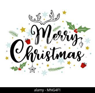 Holiday lo sfondo con il saluto l'iscrizione. Disegnata a mano vector doodle Natale scritte. Immagini Stock
