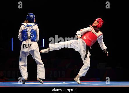 Manchester, Regno Unito. Il 19 maggio 2019. Taekwondo Campionati del mondo; Mengyu Zhang (CHN) in azione durante il suo -67 kg del campionato del mondo di Final Bout contro Nur Tatar segnalatori acustici Askari (TUR) Credit: Azione Plus immagini di sport/Alamy Live News Immagini Stock