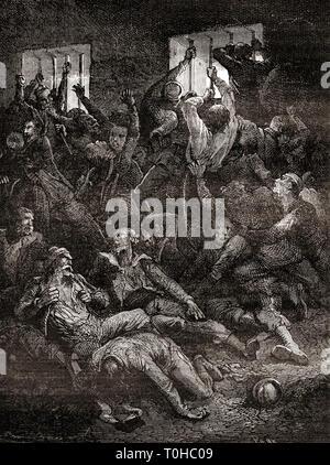 La sofferenza e la morte a causa di scarsa ventilazione, prigionieri, il Buco Nero di Calcutta Immagini Stock
