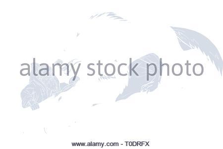 Schizzo di disegno illustrazione dello stile di dio norvegese, Odin, dio della sapienza e della guerra, essendo attaccato da Fenrir, un mostruoso lupo in mitologia di norvegesi insieme all'interno Immagini Stock