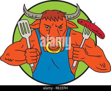 Disegno stile sketch illustrazione di un cartoon Texas longhorn bull o sterzare mantenendo una forcella con ardente flaming barbecue salsiccia insieme all'interno del cerchio sul Immagini Stock