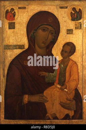 Icona della Vergine Odigitria, 1520s. Trovato nella raccolta di stato A. Rublyov Museo di Antica Arte Russa di Mosca. Immagini Stock