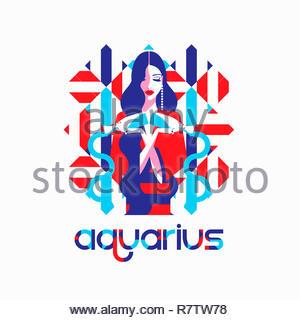 Modello di moda nel modello geometrico come aquarius segno zodiacale Immagini Stock