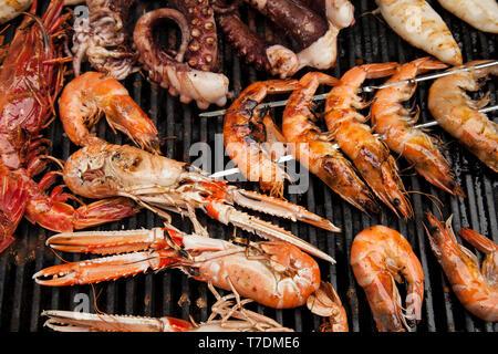 Frutti di mare su un barbecue Immagini Stock