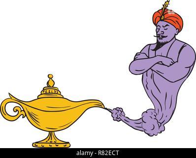 Schizzo di disegno illustrazione dello stile di un'Arabian genie uscente da un dorato o oro lampada ad olio isolati su sfondo bianco. Immagini Stock
