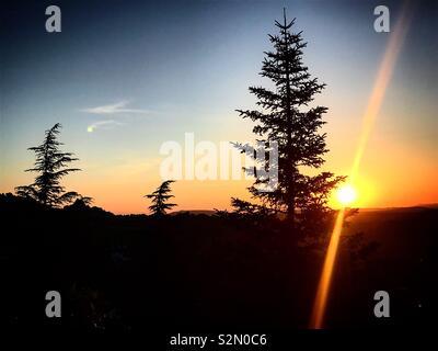 Sunrise in Grazalema, Cadice, Andalusia, Spagna Immagini Stock