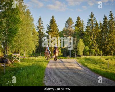 Amici a cavallo nella campagna Immagini Stock