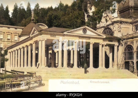 Pramen Křížový Pavilion, 1899, Regione di Karlovy Vary, Marienbad, Kreuzbrunnen, Repubblica Ceca Immagini Stock