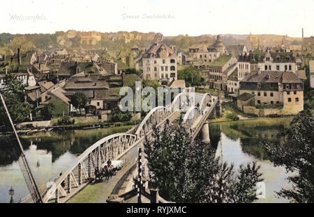 Große Brücke (Weißenfels), viste di Weißenfels, 1912, Sassonia-Anhalt, Weißenfels Große Brücke ohne Schloß, Germania Immagini Stock