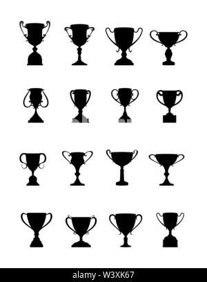 Vincitore della Coppa. Set di tazze di diversa forma e configurazione, design semplice Immagini Stock