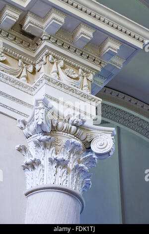Capitale di colonna e il soffitto della Cappella palladiano, iniziato nel 1760 per la progettazione di James Paine, Immagini Stock