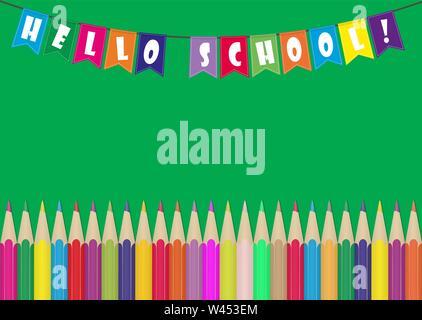 Set di matite colorate e bandiere colorate con la scritta Ciao scuola. Illustrazione per la progettazione e la decorazione dei bambini e le foto della scuola. Immagini Stock