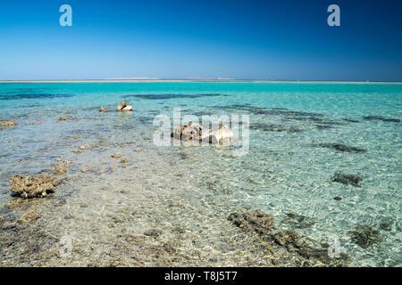 Spiaggia vuota, Hurghada, Egitto Immagini Stock