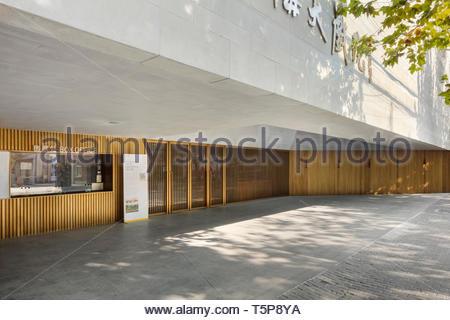 Ingresso al teatro. Nuovo Teatro di Shanghai, Shanghai, Cina. Architetto: Neri&Hu, 2017. Immagini Stock