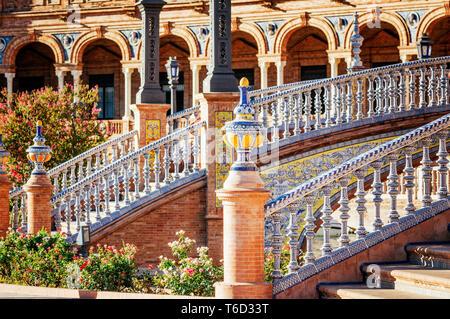 Spagna, Andalusia, Siviglia. Plaza de Espana Immagini Stock