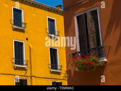 Veneziano facciate cariati, della Regione del Veneto, Venezia, Italia Immagini Stock