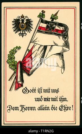 """Germania, Berlino, WW I, propaganda, patriottica cartolina con il testo: """"Dio è con noi e noi insieme con Lui ogni onore al Signore ! e il cosiddetto Reichskriegsflagge (bandiera di guerra). , Additional-Rights-Clearance-Info-Not-Available Immagini Stock"""