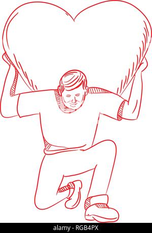 Schizzo di disegno illustrazione dello stile di un moderno Atlas il sollevamento o il trasporto di un cuore gigante sulla schiena o spalla in ginocchio e visto dalla parte anteriore sulla isol Immagini Stock