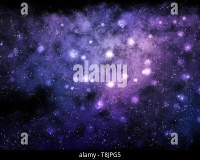Spazio astratto sfondo con nebulosa e stelle Immagini Stock