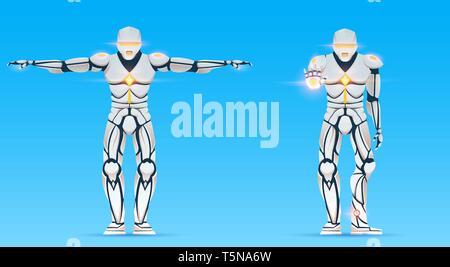Cyborg è un uomo con la distribuzione di intelligenza artificiale, IA. Robot umanoide carattere mostra gesti. Elegante maschio android, futuristico illustrazione vettoriale in Immagini Stock