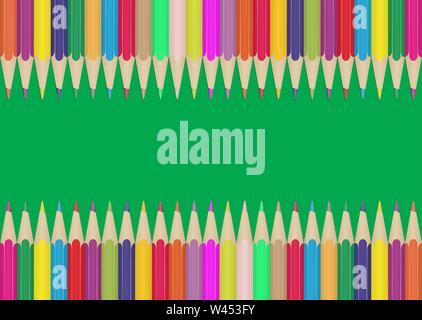 Set di matite colorate sui bordi di sfondo verde. Illustrazione per la progettazione e la decorazione dei bambini e le foto della scuola. Immagini Stock