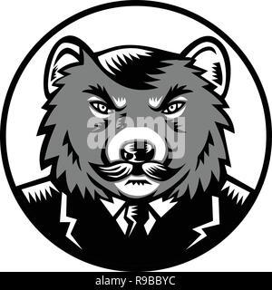 Retrò stile xilografia illustrazione di un arrabbiato diavolo della Tasmania con baffi indossando business suit coat e legare insieme all'interno del cerchio se visto dalla parte anteriore sul Immagini Stock