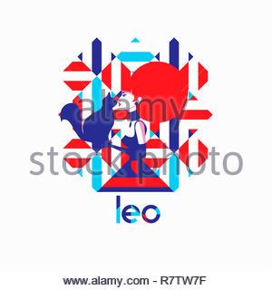 Modello di moda nel modello geometrico come leone segno zodiacale Immagini Stock
