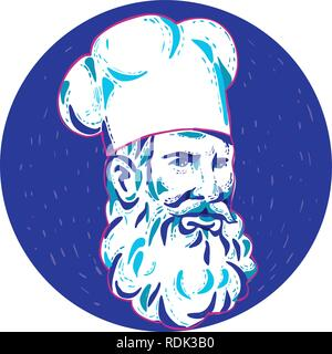 Doodle arte illustrazione di un arrabbiato barbuto chef cuoco o baker guardando al lato impostato all'interno del cerchio fatto in stile retrò. Immagini Stock