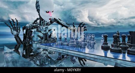 Robot donna che gioca a scacchi in nubi Immagini Stock