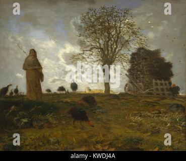 Paesaggio autunnale con un branco di tacchini, da Jean-Francois Millet, 1872-73, francese la pittura ad olio. Millet Immagini Stock