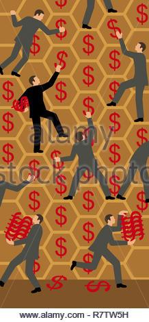 Imprenditori la raccolta di segni di dollaro da honeycomb Immagini Stock
