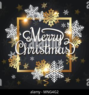 Vettore di auguri di Natale carta. Bianca e oro fiocchi di neve in una cornice dorata su uno sfondo nero. Buon Natale scritte Immagini Stock