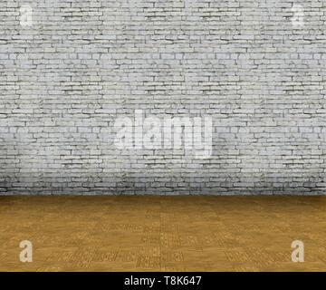 3D render di un vuoto interiore con un muro di mattoni e pavimento in legno Immagini Stock