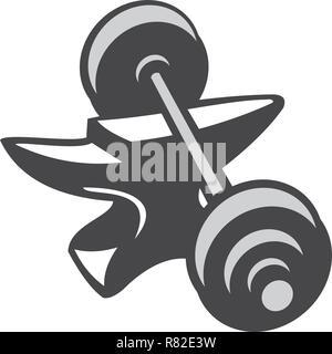 Illustrazione di un barbell dumbell dei pesi sulla parte superiore dell'incudine fatto in bianco e nero e in scala di grigi in stile retrò isolato su sfondo bianco. Immagini Stock