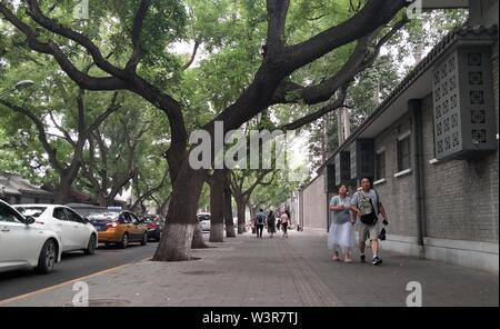 (190717) -- PECHINO, luglio 17, 2019 (Xinhua) -- foto scattate con un telefono mobile mostra i pedoni su una strada vicino il Museo del Palazzo Imperiale a Pechino Capitale della Cina, 17 luglio 2019. (Xinhua/Zhang Chao) Immagini Stock