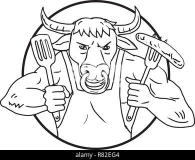 Disegno stile sketch illustrazione di un cartoon sterzare o Texas longhorn bull tenendo una forcella con ardente flaming barbecue salsicce sul fuoco insieme all'interno di ci Immagini Stock